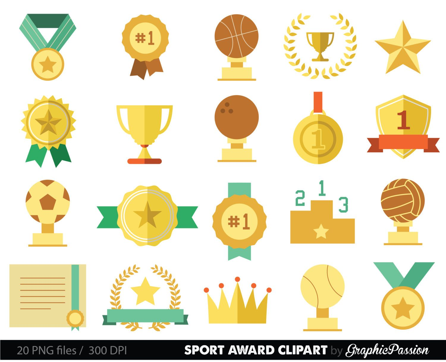 Sports Clipart Racing Prizes Flags Digital Paper Stars Medals Trophy Podium Printable Stickers 1st Prize Art By GraphicPassion On Etsy