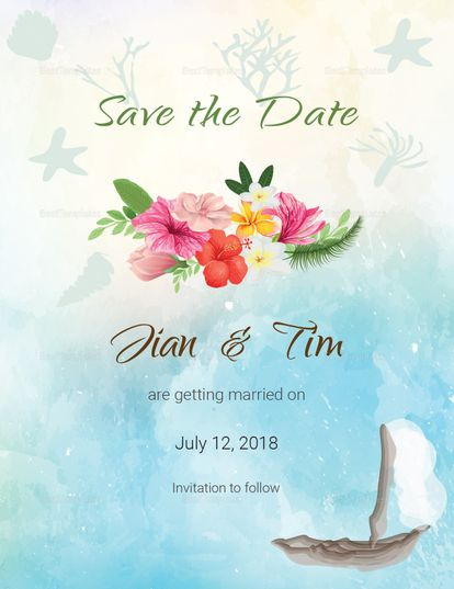 Beach Save The Date Card Template  Wedding Invitation Designs