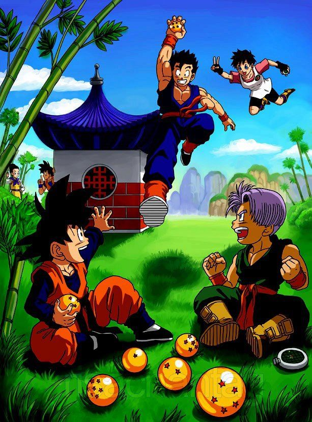 Goten Gohan Trunks And Videl With The Dragon Balls Goku And Chi Chi Are Talking Behind The House About A Secret