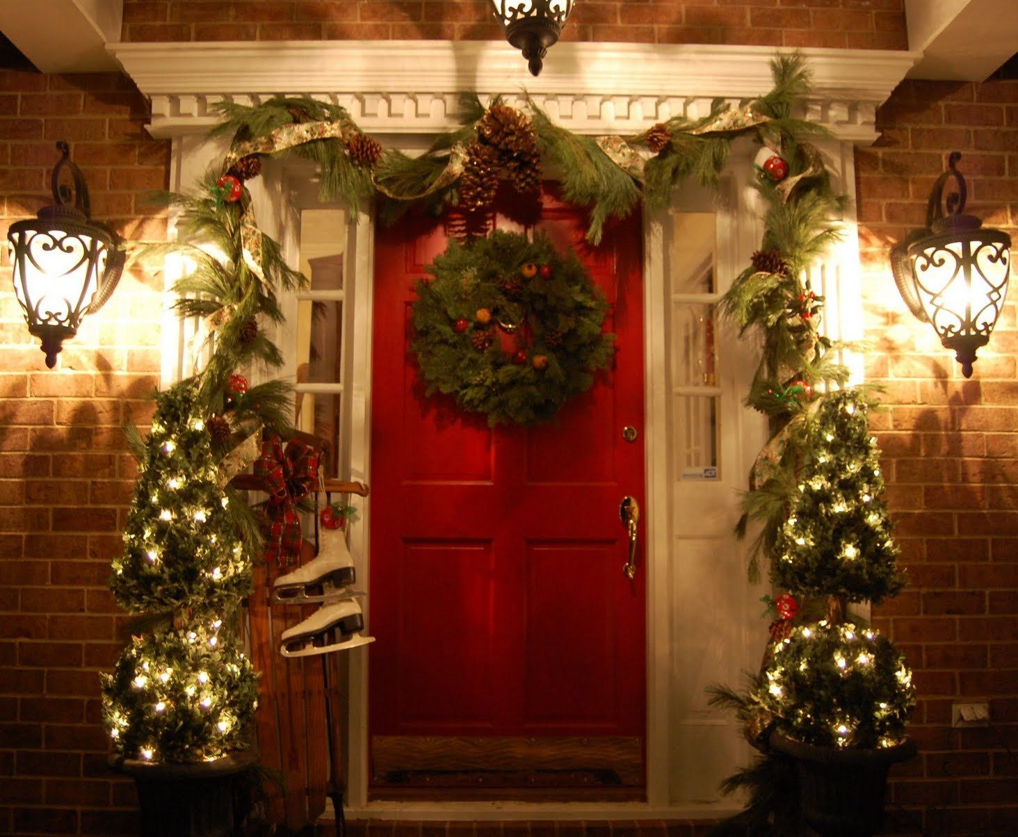 exterior captivating front porch christmas decorating ideas captivating outdoor christmas decoration with christmas tree and red ribbon on - Small Outdoor Christmas Trees