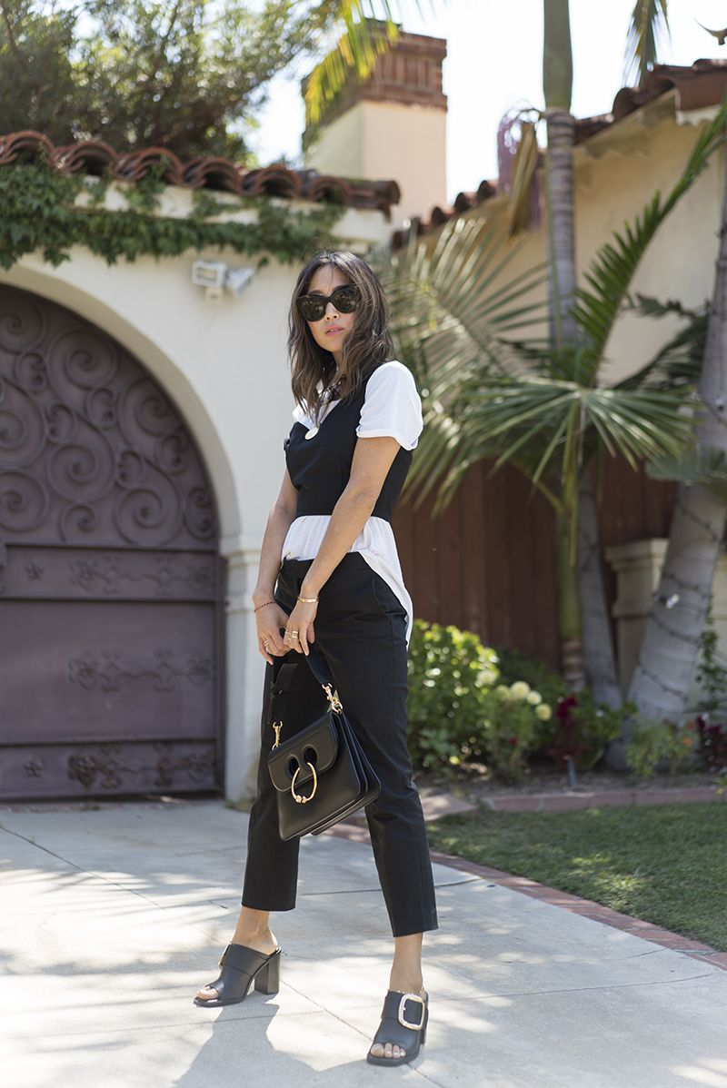 Black Pants and Bustier Crop Top | Song of Style