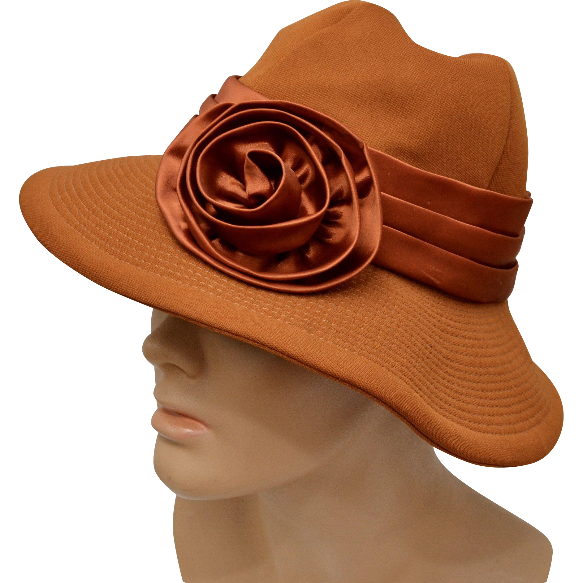 30d1dc34415 Circa 1960s Charo Original Burnt Sienna Deep Orange w/ Satin Bow Hat Very  good to excellent condition Inner hat circumference is 7 Brim is 3 1/4 Sits