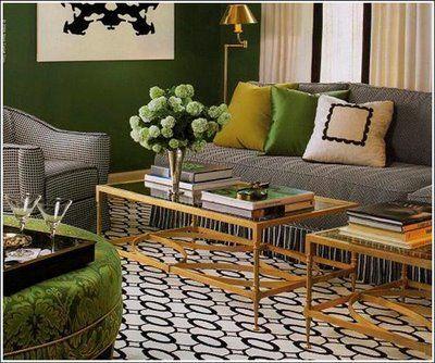 Designer Kenneth Brown Living Room Green Yellow Living Room