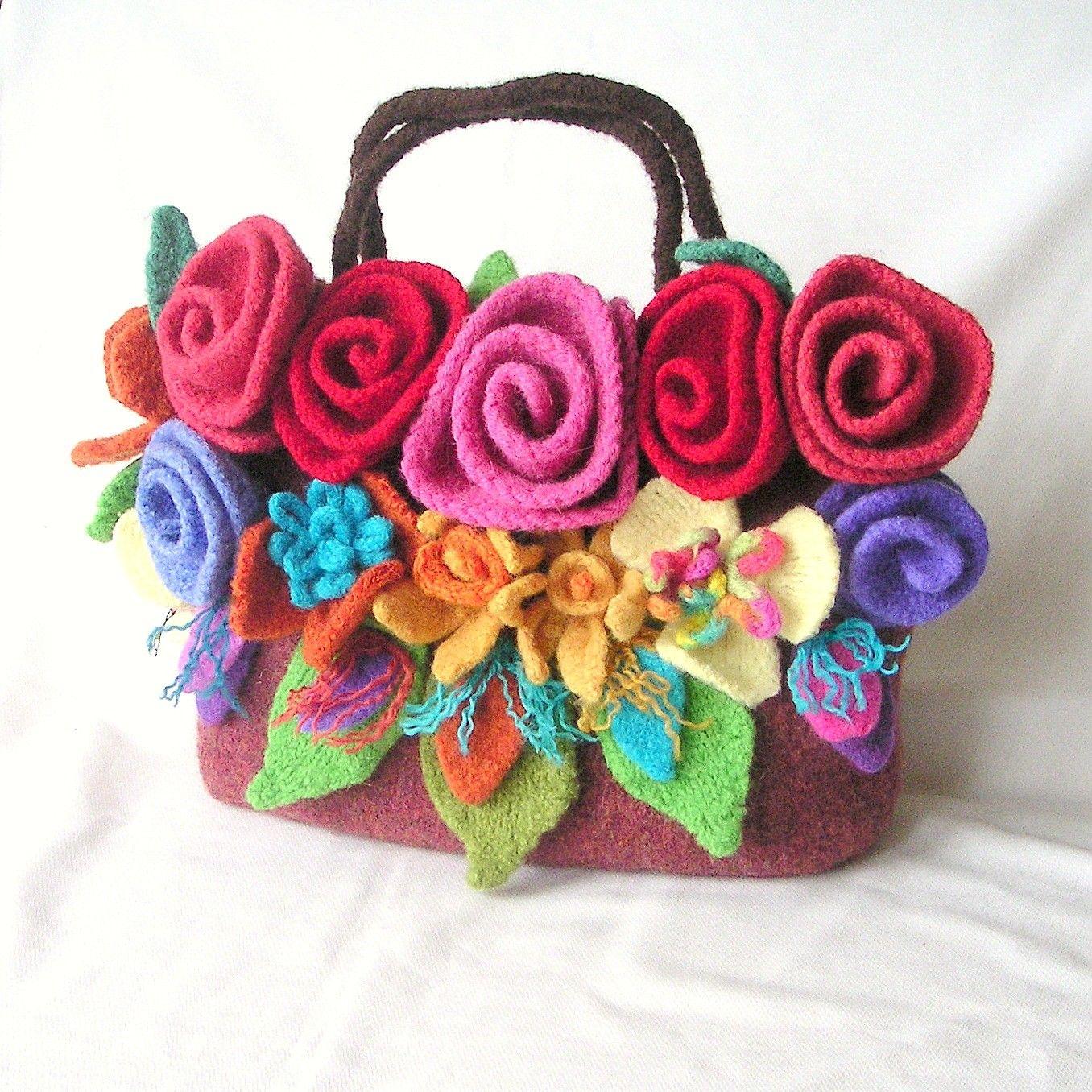 Felted Flower Bag Knitting Pattern Tutorial, Knit Bag Pattern ...