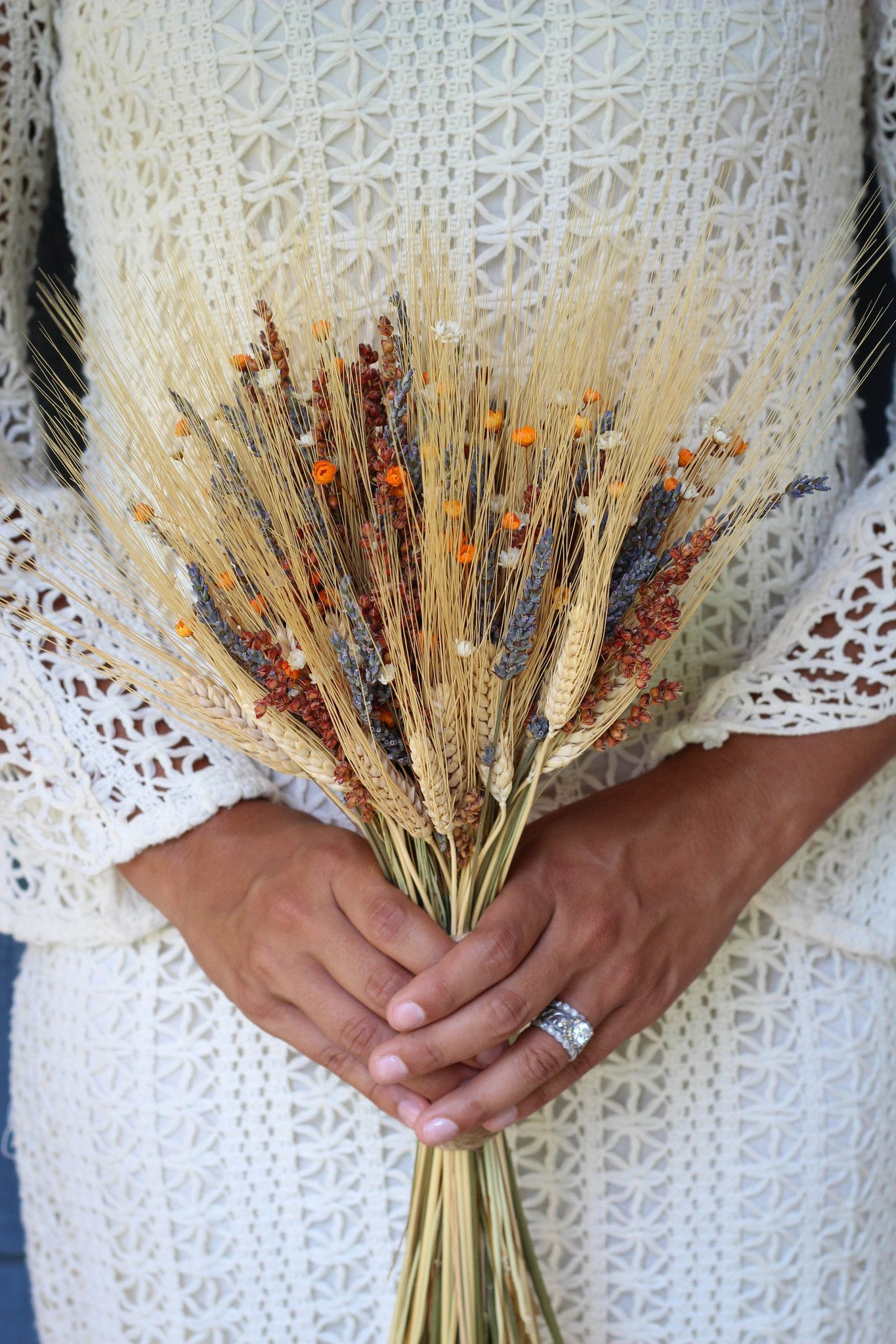 Consists Of Dried And Preserved Natural Wheat Dried And Preserved Lavender Dried And Preserved Broom Corn Wheat Wedding Flower Bouquet Wedding Bridal Bouquet