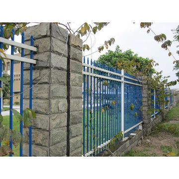 Blue And White Coated Metal Fence Metal Fence Types Of Fences Fence