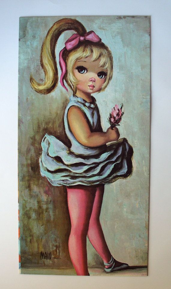 60s Maio Big Eyed Kid Ballet Girl with Flower Modern Art Print via Etsy