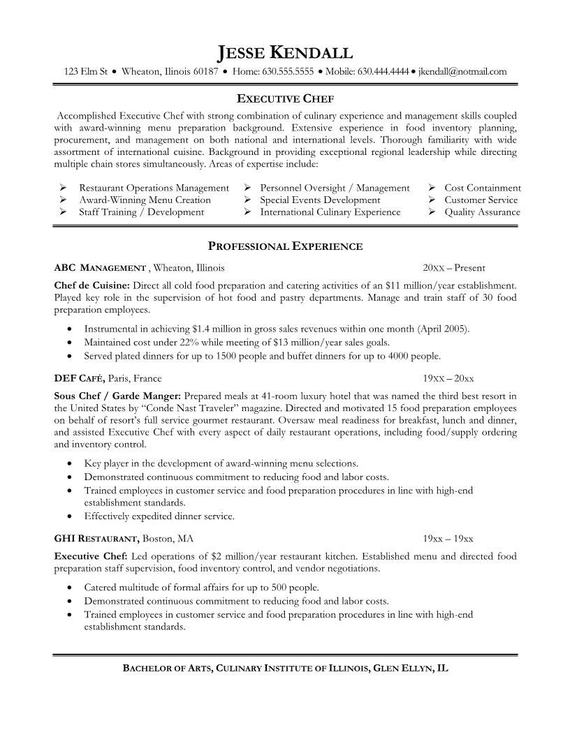 Executive Chef Resume Template Resume Template Australia Cook Objective Sample Many Kinds Inside