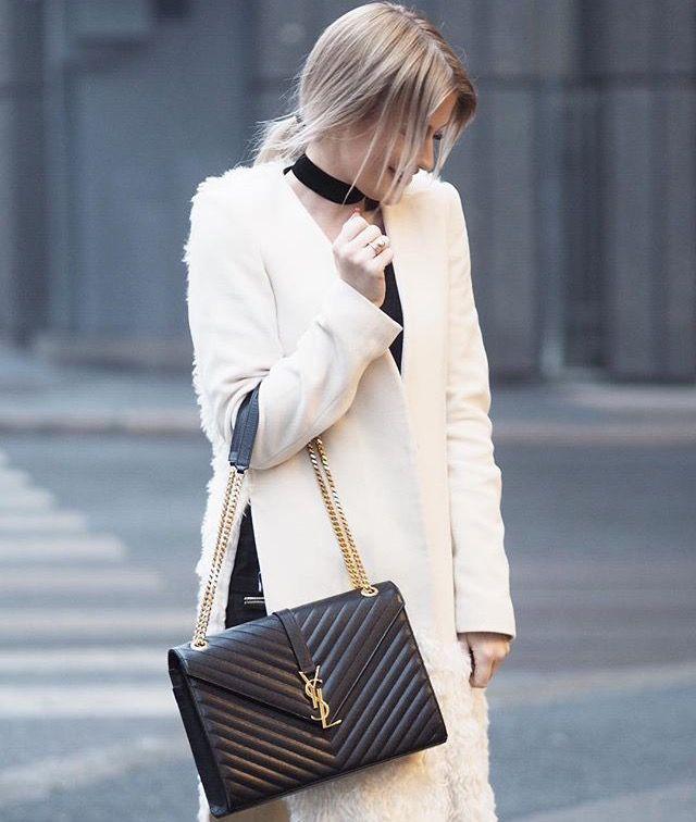 453b7edbef7 Saint Laurent Medium Grained Matelassé Quilted Leather Shoulder Bag  #StreetStyle