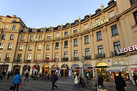 Shops in the rondel of Karlsplatz square, Stachus, historic city centre, Munich, Upper Bavaria, Germany, Europe