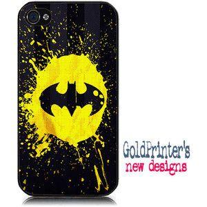 Batman splash iPhone Case 4 & 4s,iphone 5, Samsung S3, spiderman, superheroes, movie, black yellow