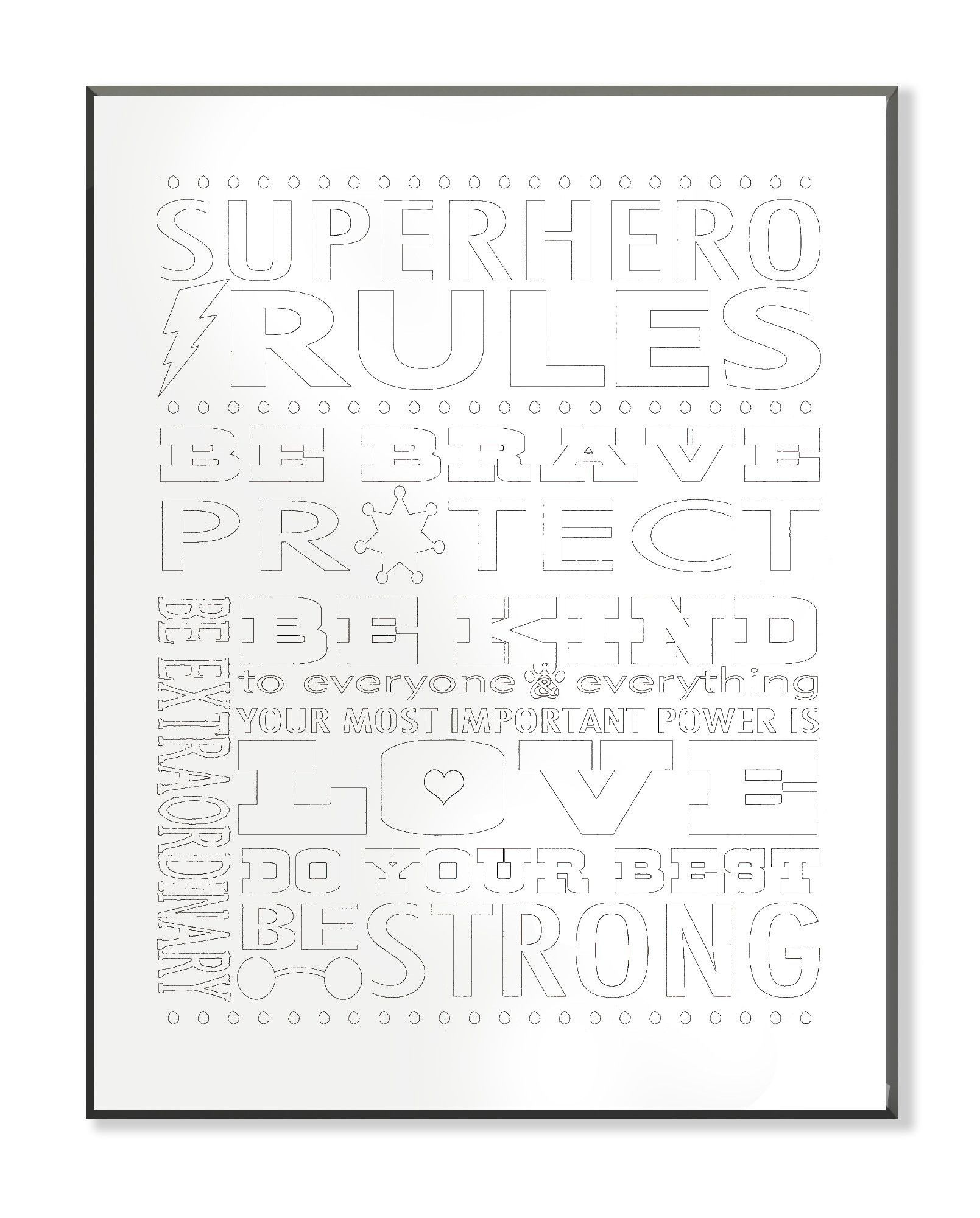 DIY Coloring Wall Plaque Superhero Rules Typog Textual Art