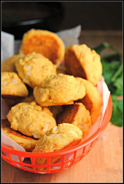 Baked Hush Puppies 58 Cal Each Makes 24 Bake Only What You Need And Freeze The Rest Not As Good Reheated Baked Hush Puppies Hush Puppies Recipe Easy Baking Recipes