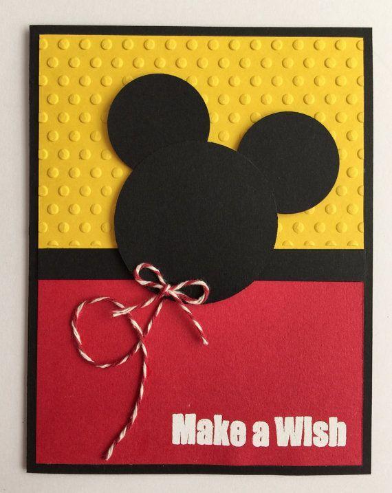 Handmade Embossed Mickey Mouse Birthday Card Mickey Mouse - Handmade childrens birthday cards