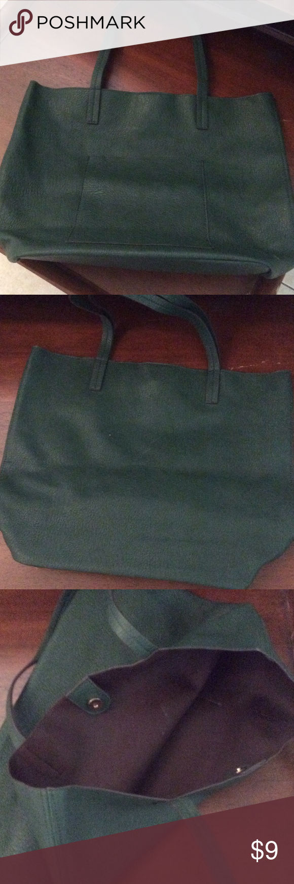 Street Level large slouchy tote pocket front faux Street Level large slouchy tote pocket front faux leather vegan, snap closure cypress green, condition new street level Bags Totes