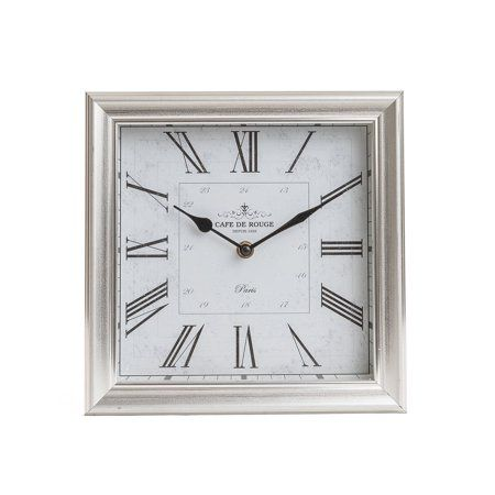 Patton Wall Decor 10 Brushed Silver Roman Numeral Square Tabletop Clock Walmart Com Tabletop Clocks Silver Wall Clock Clock
