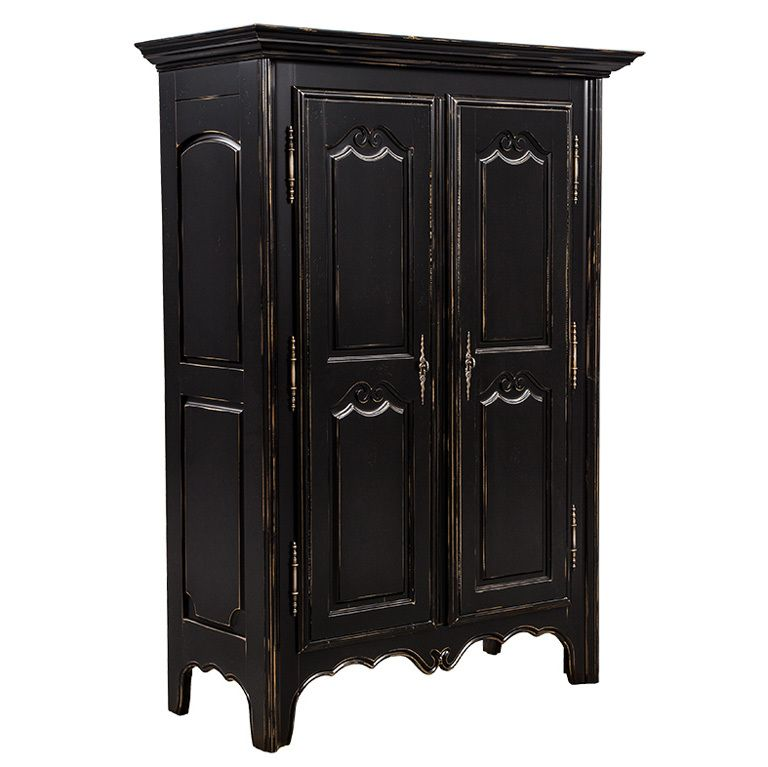 High Quality French Black Distressed Armoire Wardrobe Cabinet Made In  Canada | From A Unique Collection