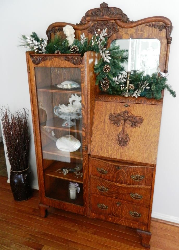 antique side by side secretary ~ with my initial! :) - Antique Side By Side Secretary ~ With My Initial! :) Antique