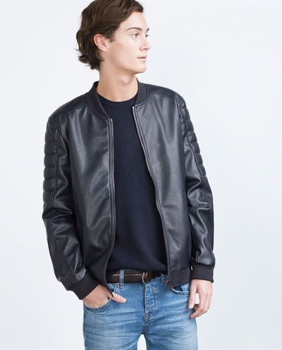 Faux Leather Jacket Bombers Man Zara United States Casual Men S