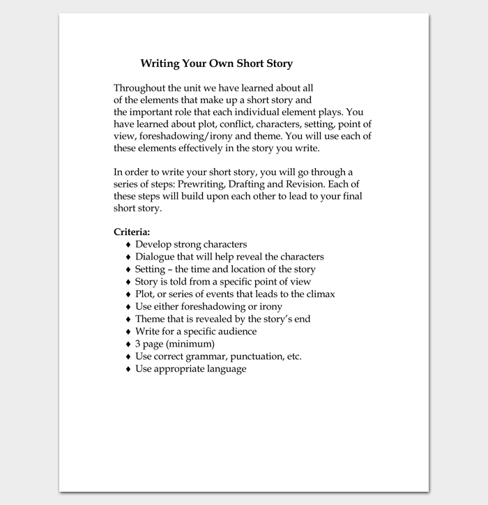 short story outline example