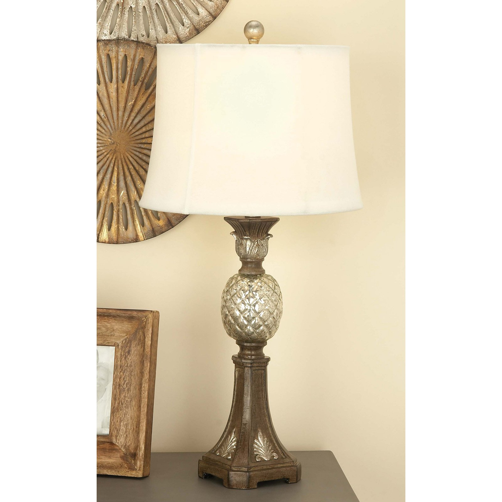 Decmode Traditional Pineapple Table Lamp 78495 Set Of 2 With