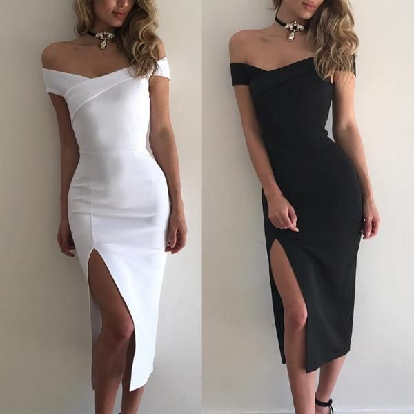 264188f77b58 Elegant Off Shoulder Cross Slit Bodycon Dress