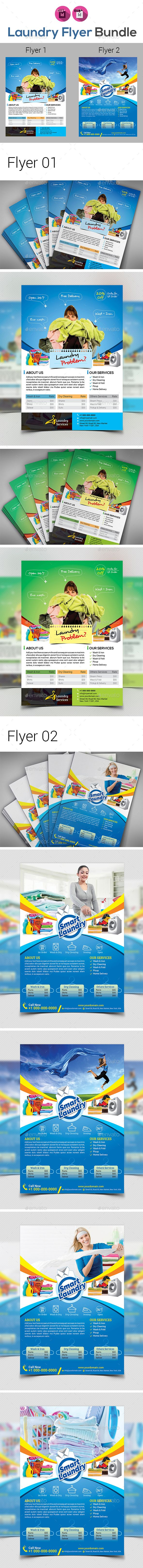 laundry services flyers templates by aam360 featuresflyer01 size 827 x1169 bleed 25 one design two color variations cyan greenfiles included