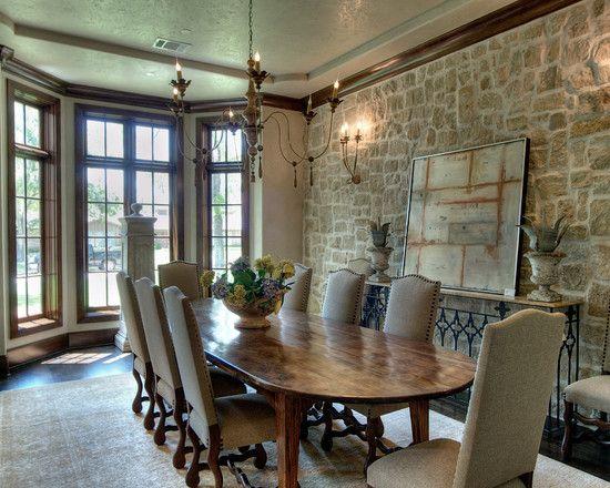 Comedor con pared de piedra rustico - Paredes decoradas con piedra ...