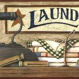 Country Laundry Shelf Wallpaper Border HK4633BD laundry room