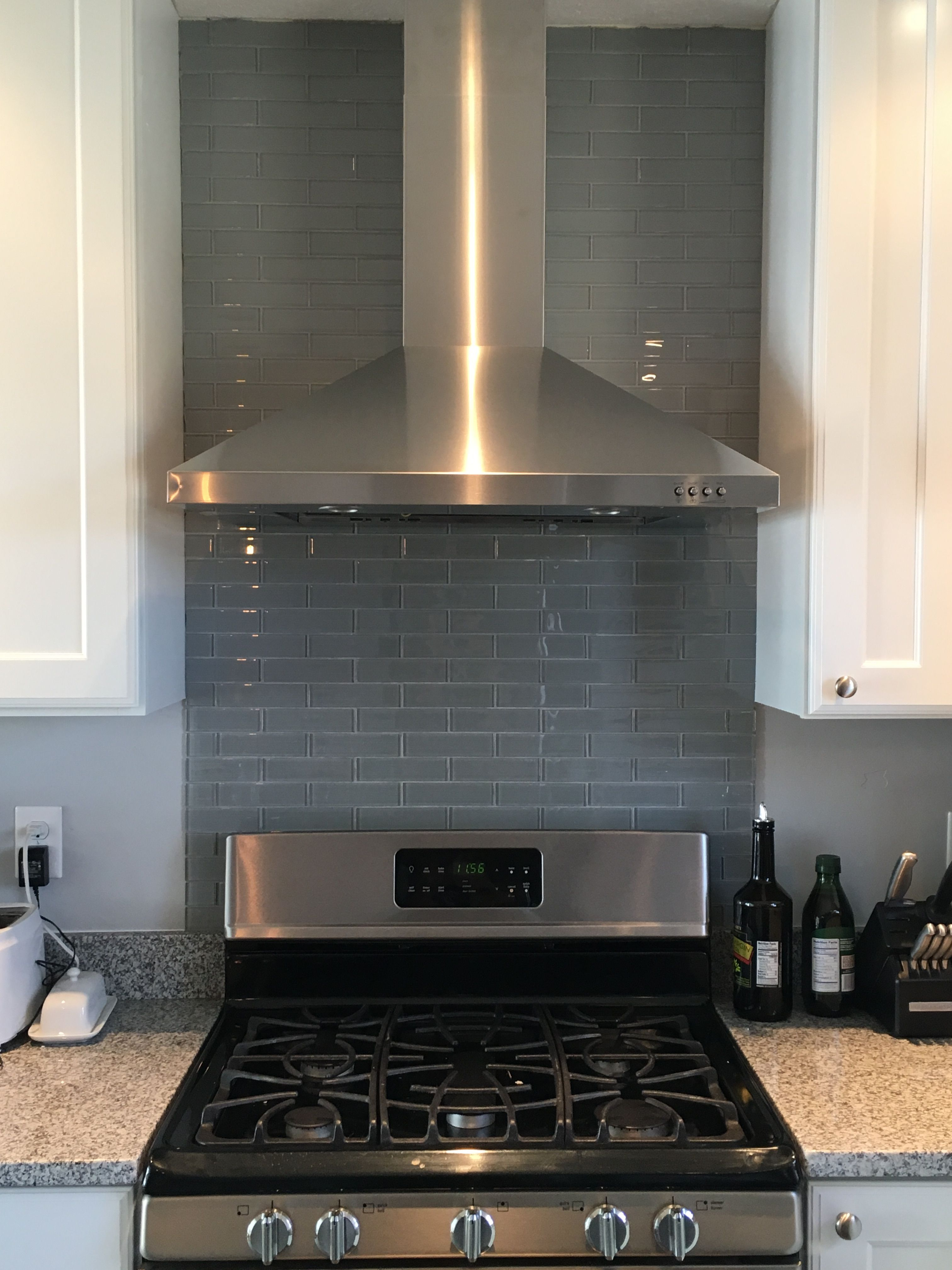 Our Kitchen Reno Glass Backsplash Behind The Gas Stove And Range