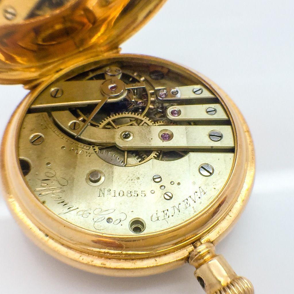 co antique geneva pocket 18k gold pocket