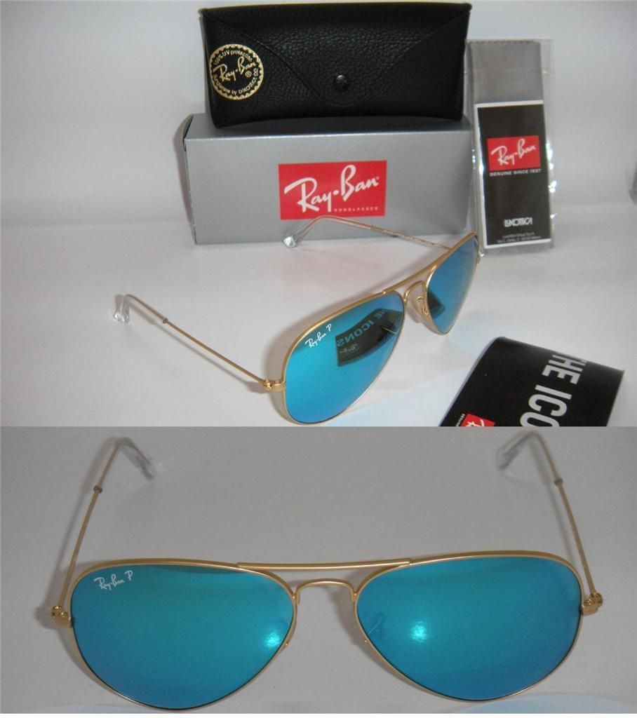 f1dba761271 RAY BAN AUTHENTIC AVIATOR RB 3025 112 4L 58MM MATTE GOLD POLARIZED BLUE  MIRROR