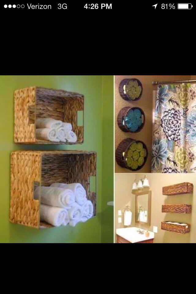 Great Way To Store Towels In Your Bathroom #Home #Garden #Musely #Tip