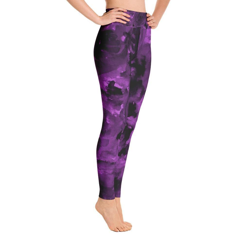 Purple Floral Women S Leggings Rose Print Long Yoga Pants Gym Tights Made In Usa Eu Long Yoga Pants Women S Leggings Yoga Pants