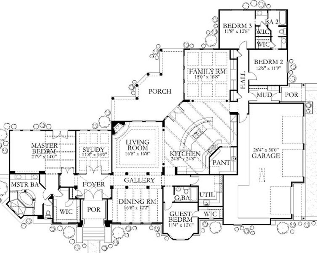 European Style House Plan - 4 Beds 3 Baths 3336 Sq/Ft Plan #80-194 Floor Plan - Main Floor Plan - Houseplans.com
