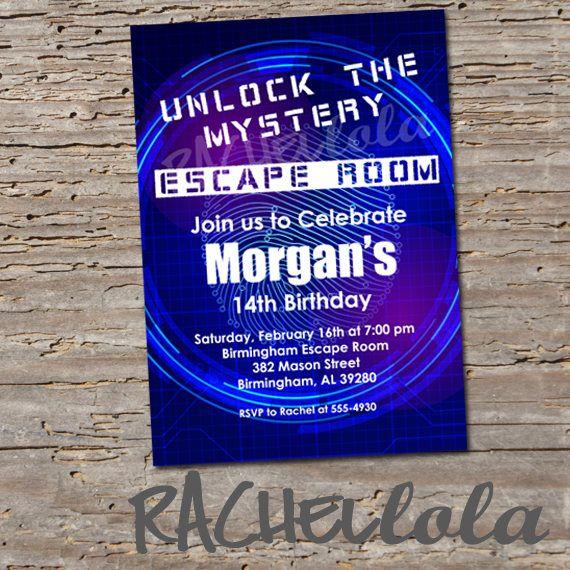 Escape Room Birthday Party Invitation Breakout Room Unlock Boy
