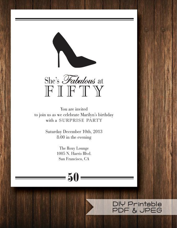 Diy Printable Pdf And Jpeg Classic Invites Stiletto Surprise