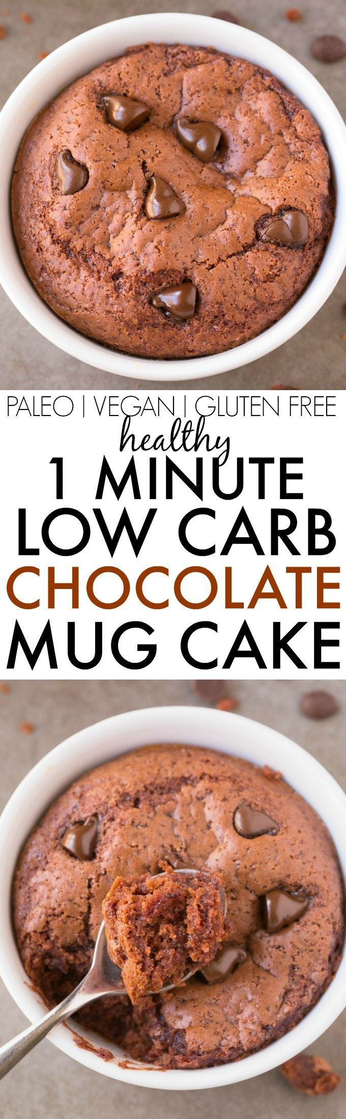 Healthy 1 Minute LOW CARB Chocolate Mug Cake- Light, fluffy and moist in the inside! Packed full of protein and no sugar whatsoever! {vegan, gluten free, paleo recipe}- thebigmansworld.com #proteinmugcakes