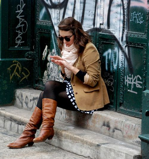 Black Tights, Brown Boots, And Brown Blazer