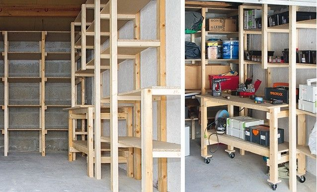 Diy garage tag re et tabli sur mesure bookcase closet restore wood a - Etagere garage castorama ...