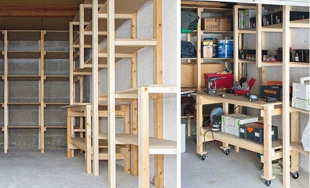 Diy Garage Etagere Et Etabli Sur Mesure Etagere Bois Etagere Rangement Atelier