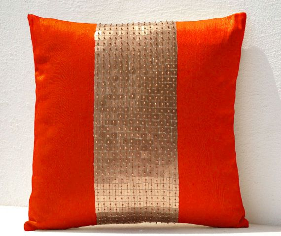 Throw Pillows Orange gold color block in silk by AmoreBeaute