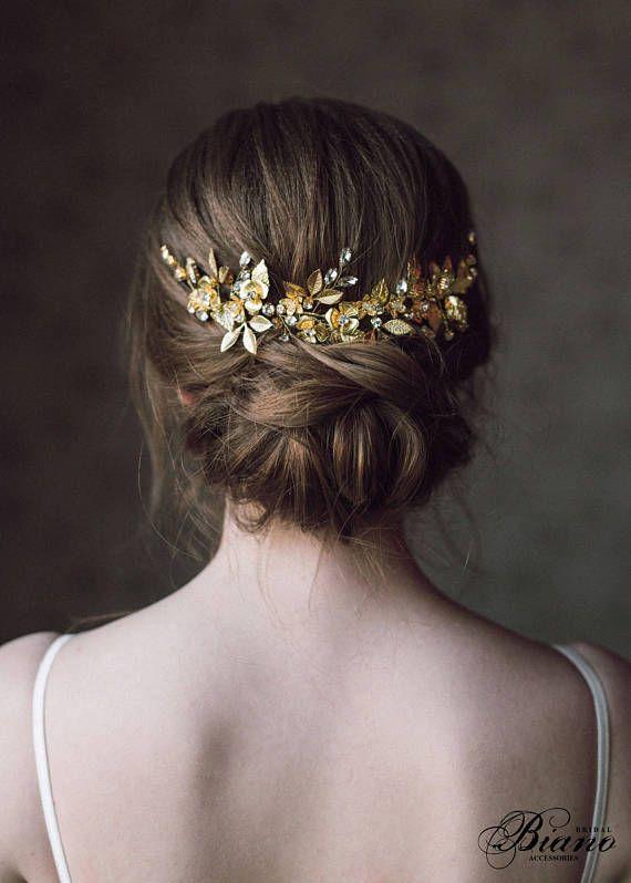 Hochzeit Kopfschmuck Schleier, Braut zurück Kopfstück, Haarschmuck für Hochsteckfrisuren, griechischen Haarteil gold, Hochzeitshaare, Blatt Halo - ANTHEIA