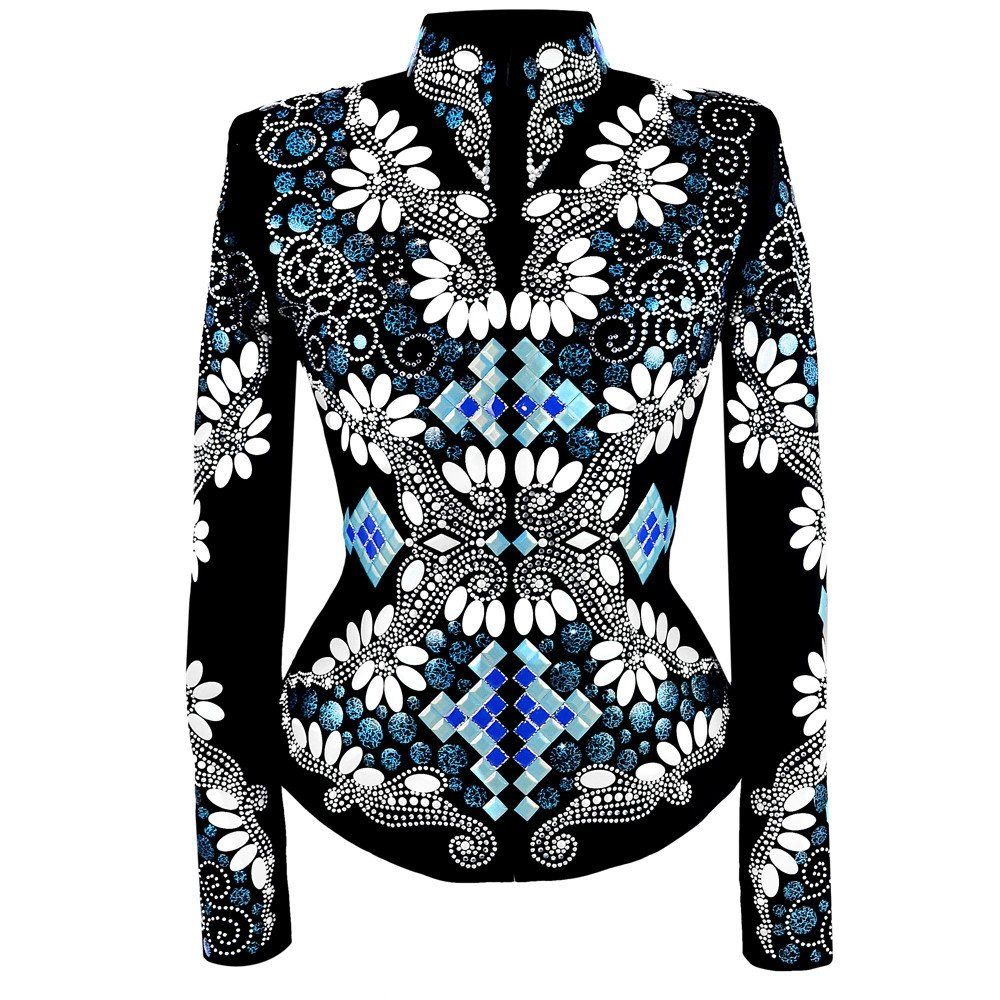 Blue Pearl Riding Jacket. Ladies Small Riding Jacket  This jacket features a gorgeous mix of blues and white. We've created this stunning jacket with blue and black metal disks, indigo and pearlescent jade squares, white pearl ovals, and tons of silvers studs and sparkling crystals. We love this look for western pleasure and trail.