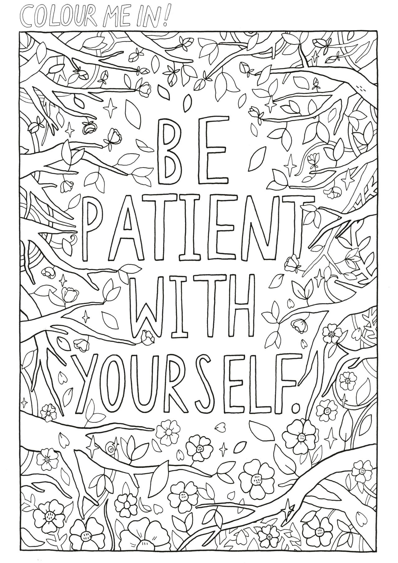 Self care coloring page