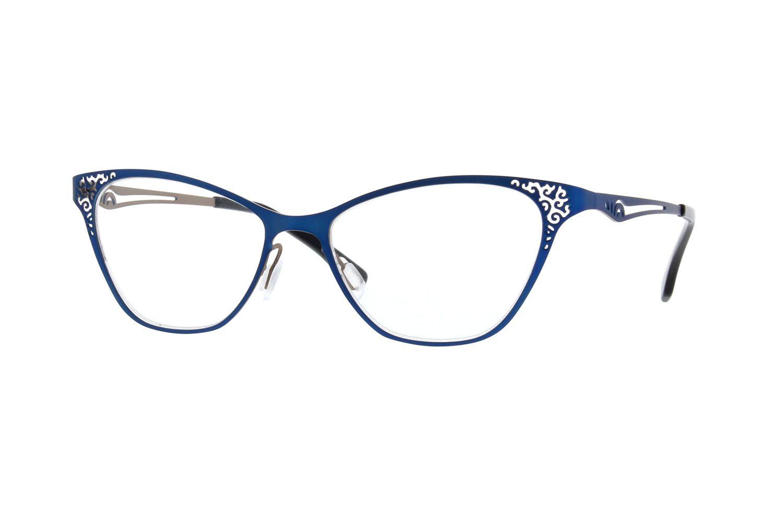 00876010bbd Zenni Womens Cat-Eye Prescription Eyeglasses Blue Stainless Steel ...