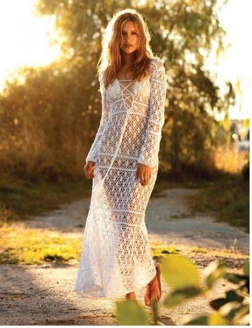 a40464f6777eb9 modelo longo com mangas longas | CROCHET Dresses | Saida de praia ...