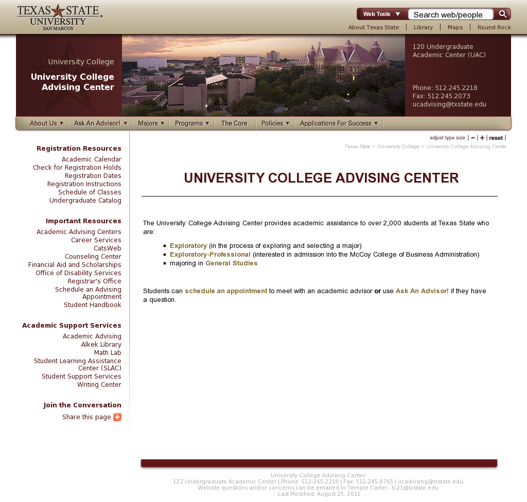 I am responsible for updating the University College Advising Center