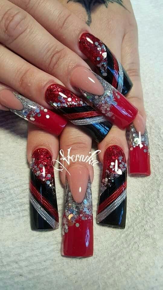 Red Silver Black Glitterballoons Flare Nails Long Nail Designs Bling Nails
