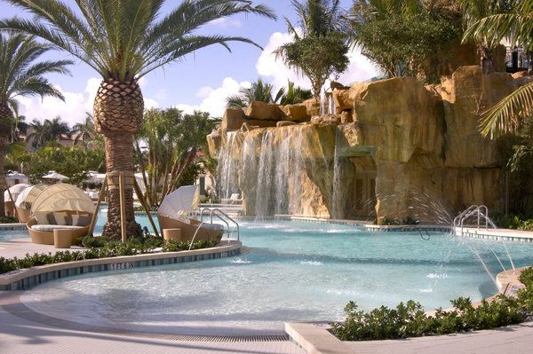 Fairmont Turnberry Isle Resort In Aventura Florida Water Slide Lazy River Waterfall Cabana Bed